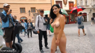 Alex Black Nude In Public On The Streets Of Prague With Many People Watching